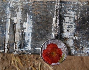 Oregon Grown Pressed Wildflowers- Resin Pendant Boho Style Handmade Necklace
