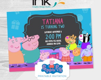 "Peppa Pig Birthday Invitation - 5x7"" - 5.25x4"" - Instant Download - Editable - Edit Yourself - Peppa Pig Party - Peppa Pig Birthday - Paper"