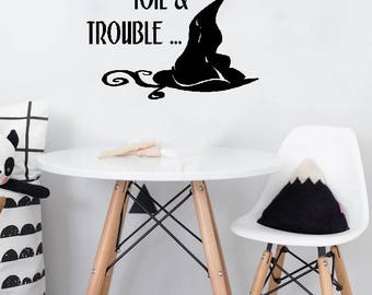 "Halloween Decal - Double, Double, Toil and Trouble - Wall Decal - BLACK Vinyl Decal 13"" x 13"""