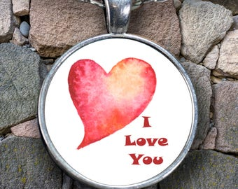 "I LOVE YOU Watercolor Heart Necklace Stylish Personal Valentine's Day Jewelry Pendant! Wear it proudly on 22"" silver plated necklace!"
