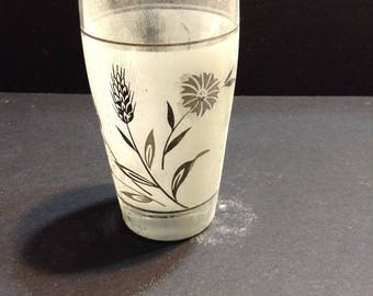 Libbey glassware, 12 oz all purpose tumblers, Wild Flower flower and wheat design, silver tone, Lever Bros., original boxes from detergent.