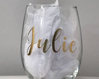 Personalized wine glass, wine glass, stemless wine glass
