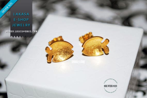 Fishes Studs Earrings Sterling Silver Gold plated Handmade Jewelry Summer Moda Sea Marine Collection Woman Girlfriend Greek Gifts for her