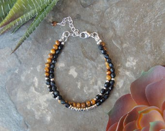 Tigers Eye Bracelet, Layered Bracelet, Gemstone Bracelet for Her, Black Bracelet for Women, Everyday Bracelet, Multistrand Brown Bracelet