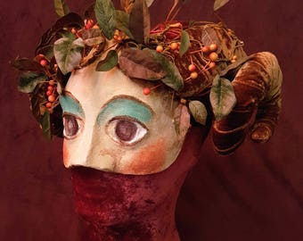 Ram-Horned Mask, pagan half mask, FREE SHIPPING, Greko-Roman styled stage mask
