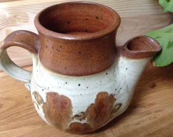Rustic hand made pitcher. Vintage ceramic pitcher. Rustic hand painted pottery. Flower pitcher.