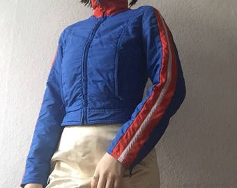 Vintage 80's blue and orange ski winter coat