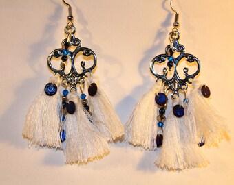 Navy Blue chandelier earrings