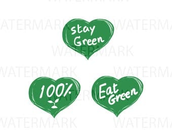 Three hearts of Vegan Stay Green 100% Eat Green - Color can change - JPG PNG SVG - Hand Drawing Image - Digital files Instant Download