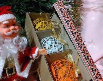 "Set of Balls ""Сonfetti"", Set of Christmas Balls, Christmas Decor, Handmade Idea."