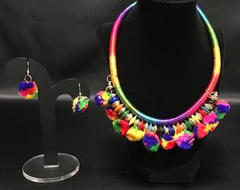 Pom Pom Jewelry - Silk Thread Jewelry - Indian Tribal Jewelry - Pom Pom Earring - Bollywood Jewelry - Festival Jewelry - Garba Raas Navratri