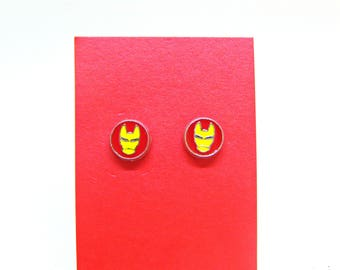 Marvel Comic Iron Man Inspired Stud Earrings/Iron Man Gift/Marvel Comic Gift/Gift For Comic Book Fan/Comic Book Gift