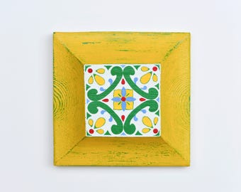 Talavera Wall Decor Yellow, Mexican Wall Hanging, Decor Living Room, Wall Decor Wood, Rustic Home Decor, Painting on Wood,House warming Gift