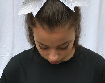 White Geometric Cheer Bow