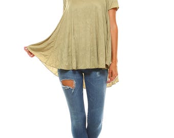Women's Sage Flowy Swing Tunic Top, Scoop Neck, Size S M L XL - Made in USA