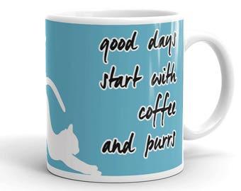 Cat gift mug, Adorable cat gift, Cat lover gift, Cute cat mug, Adorable cat mug, Print all around the mug, Coffee and purrs, Cat owner mug