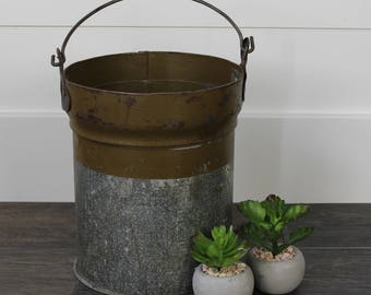 Reclaimed Ammunition Canister Bucket with Handle