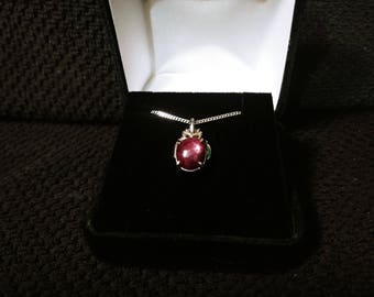 Star Ruby Gemstone Solid Sterling Silver Necklace