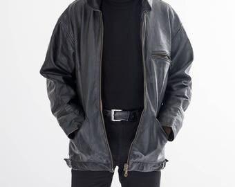 80s Vintage American Black Leather Jacket