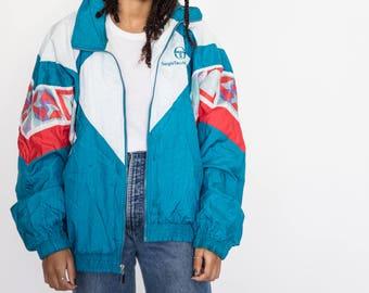 Vintage 90s Blue and White Sergio Tacchi Bomber Jacket