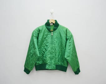 ADIDAS Jacket Vintage 90's ADIDAS Green Quilted Made in Japan Jacket Sweater Women's S