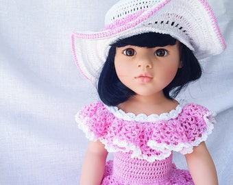 "Crochet dress and hat for Gotz dolls - For 18"" American Girl Dolls"