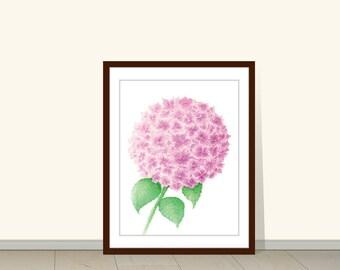 Hydrangea Painting, Hydrangea Print, Hydrangea Art, Hydrangea Watercolor, Hydrangea Wall Art, Hydrangea Decor, Pink Hydrangea, Hydrangea Art