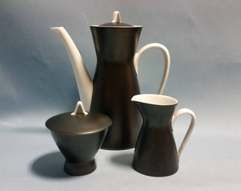 RARE Mid Century Rosenthal Coffee Set in Black, Form 2000 Line by Designer Raymond Loewy