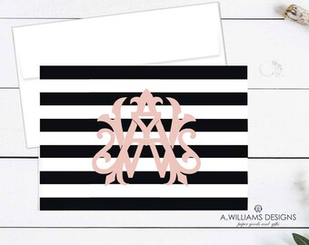Monogrammed  folded Notecards/ Merry Christmas note cards/Monogrammed Christmas Thank you notes/Black and white sriped Thank You cards 3.5x5