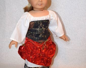 18 Inch Doll Outfit - Red Steampunk Style