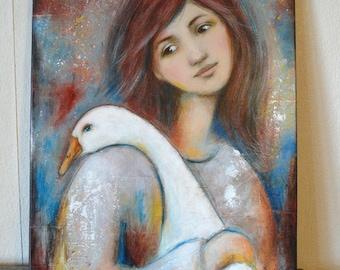"""Oie femme fille campagne , Peinture """"Avec mon oie""""  40x50cm / ferme / animaux de la ferme"""