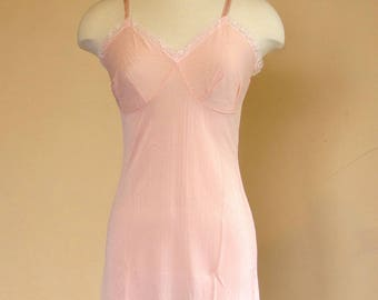 Vintage lingerie slip dress - 1960s pastel pink Kayser camisole - retro lingerie - size AU 8 -10