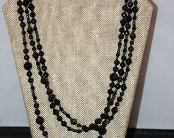 3 Strand Handmade Sparkly Black Bead Necklace