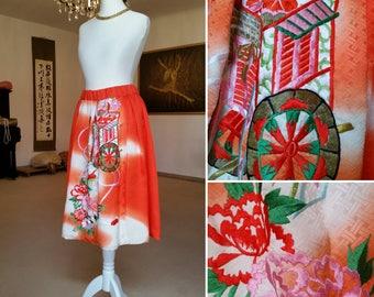 Gorgeous kimono silk skirt / Red kimono skirt with japanese embroidery / Colorful eyecatcher skirt / Red silk skirt made of kimono fabric