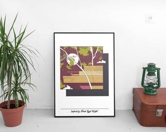 50 x 70 poster graphic design illustration Inspired by Frank Lloyd Wright architecture