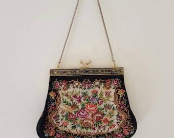 1960s Vintage Purse • Vintage evening Bag• Tapestry purse • Floral design • pinpoint Bag • Vintage clutch • Wedding purse • Designer vintage