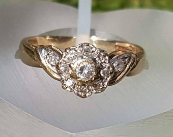 Diamond Cluster 9ct Gold Ring