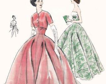 "Vintage 1950's Sewing Pattern Vogue Evening Ball Gown & Bolero Prom bridal Wedding B 31"" H 33"""