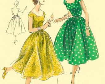 "Vintage 1950's Sewing Pattern Rockabilly Vogue Square neckline Dress Bust 34"""