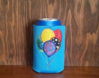 Birthday Balloons Can Cooler, Embroidered Can Cooler, Birthday Cozie, Birthday Balloons Cozies, Happy Birthday Cozie, Unique Can Coolers