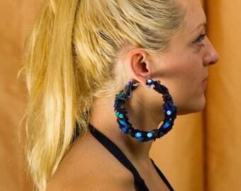 SPARKLEHOOPS, Green sequin earrings, disco hoops, party earrings