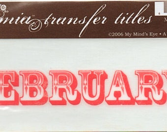February Title Rub On Transfer Embellishments Cardmaking Crafts My Mind's Eye Bohemia