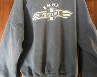 ENUF Internationale 80's 90's Sweatshirt Crew Neck Collegiate Grunge Era Size Medium