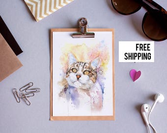 Custom watercolor cat portrait , Christmas gift , Cat portrait customized, Free Shipping