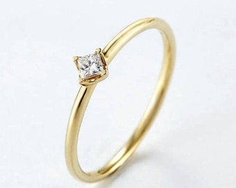 Simple engagement ring Solitaire Princess cut engagement ring 14k gold wedding women Dainty Minimalist Delicate Petite Promise Anniversary