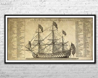 Etsy your place to buy and sell all things handmade pirate ship blueprint archival paper print and canvas print warship poster pirate ship wall art home malvernweather Choice Image