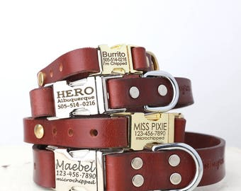 Brown Leather Dog Collar with Personalized Engraved Side Release Buckle-Classic Brown Leather Side Dog Collar Stainless Steel and Brass