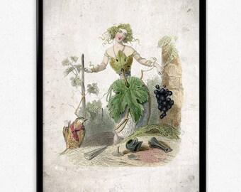 Flower Girl Grapes Vintage Print - Flower Poster - Flower Art - Flower Picture - Flower Print - Wall Art - Wall Decor - Bathroom Art