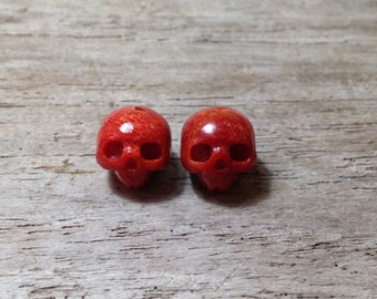 Set of 2 Carved Coral Skulls Bead Beads Gemstone Skull Stone Momento Mori Charm