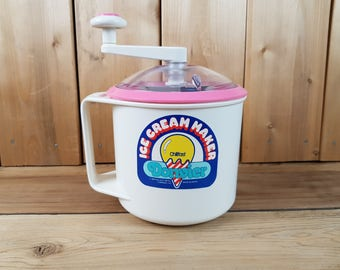 Vintage Donvier Ice Cream Maker Pink and White Nikkal Hand Crank Chillfast Made in Japan Kitchen Gadget Party Cool Frozen Desert Treat Decor
